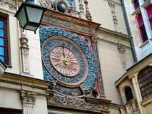 Big hours Gros-Horloge in Rouen, France. Vintage Large Clock 1389 on the eponymous street rue du Gros-Horloge in Rouen, France Royalty Free Stock Images