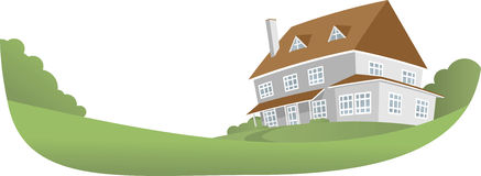 Big House. Illustration of Big House with big garden Royalty Free Stock Photos