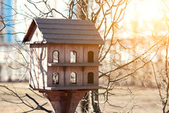 Big house for the birds in park. Large two-storey house for the birds in the park stock images