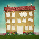 Big house. Illustration or poster with  large house and  flower bed. Computer graphics Stock Images