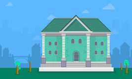 Big house landscape vector flat Royalty Free Stock Image