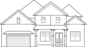 Big house. Large two-storey house outline drawing Royalty Free Stock Photo