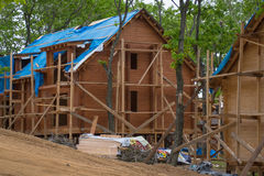 Big house made of wood under construction Stock Image