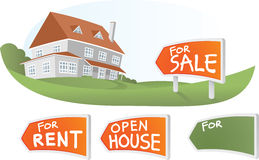 Big House with Sign. Illustration of Big House with Sign Royalty Free Stock Photos