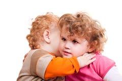 Big hug. Baby brother giving a big hug to his cute sister Stock Image