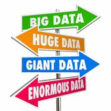 Big Huge Giant Enormous Data Signs. 3d Illustration royalty free illustration