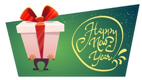 Free Big Huge Gift Box Wish Happy New Year Present Greeting, Classic Red Green , White Christmas Colors , Bow With Shiny Ribbon , Carto Stock Images - 134332264