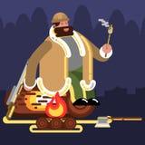 Big Hunter near fire. Vector illustration, EPS 10 Royalty Free Stock Image