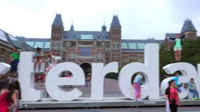 Big I am Amsterdam letters I Amsterdam at museum square  City of Amsterdam stock video