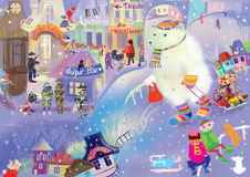 Big ice bear in a cute little winter town Stock Images