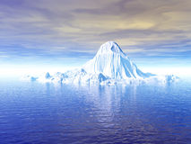 Big Ice Berg. Big antarctic  iceberg - 3d scene. More in my portfolio Royalty Free Stock Photos