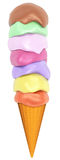 Big ice cream. 3d image of a big colorful ice cream isolated on white background Royalty Free Stock Photography