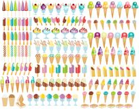 Big ice cream collection Royalty Free Stock Photos