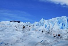 Big Ice Glacier Hiking Tourists, Perito Moreno Argentina stock photos