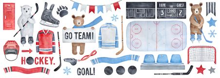Free Big Ice Hockey Set, Clipart Collection. Royalty Free Stock Photo - 137357215