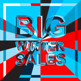 Big ice sale poster with BIG WINTER SALE text. Advertising vector banner Stock Photos