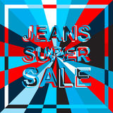 Big ice sale poster with JEANS SUPER SALE text. Advertising vector banner Royalty Free Stock Photography