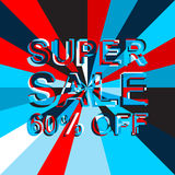 Big ice sale poster with SUPER SALE 60 PERCENT OFF text. Advertising vector banner Stock Photo