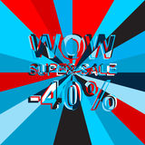 Big ice sale poster with WOW SUPER SALE MINUS 40 PERCENT text. Advertising vector banner Royalty Free Stock Photography