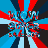 Big ice sale poster with WOW SUPER SALE MINUS 30 PERCENT text. Advertising vector banner Stock Photography