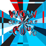 Big ice sale poster with WOW SUPER SALE MINUS 60 PERCENT text. Advertising vector banner Stock Images