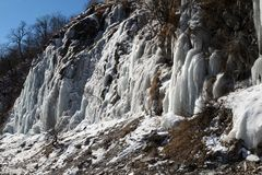 Big icefall in mountain at nice sun day Royalty Free Stock Photo