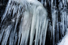 Big icicles on a rock Royalty Free Stock Photography