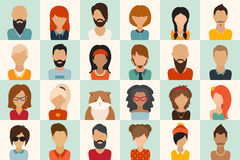 Big icons set. 12 women, 11 men and 1 cat flat icon vector illustration Stock Photos