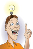 Big Idea. A vector cartoon of an average guy coming up with a brilliant idea stock illustration