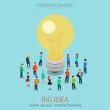 Big idea brainstorming flat 3d web isometric infographic concept Stock Photos