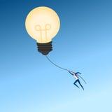 Big idea. Businessman flying lamp idea balloon. Business advantage concept of success, opportunities, future business trends. Cartoon Vector Illustration stock illustration