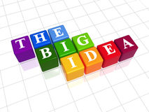 The big idea in colour. 3d colour boxes with white letters with text - the big idea Stock Photo
