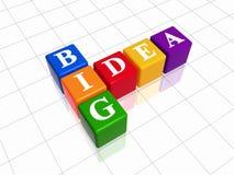 Big idea - colour crossword. 3d colour boxes with white letters with text - big idea, like crossword Royalty Free Stock Photos