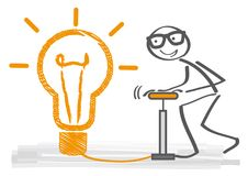 Big idea - think big. Big idea concept – stick figure and light bulb think big Stock Photo