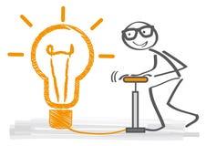 Big idea - think big. Big idea concept – stick figure and light bulb think big royalty free illustration
