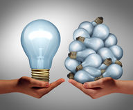 Big Idea. Concept as a hand holding a large lightbulb and another holding a group of small bulbs as a symbol for creativity and efficient creative leadership Royalty Free Stock Image