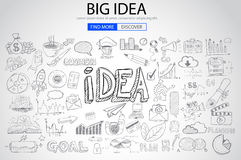 Big Idea  Concept with Doodle design style. Finding solution, brainstorming, creative thinking. Modern style illustration for web banners, brochure and flyers Royalty Free Stock Images