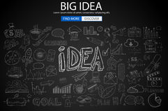 Big Idea  Concept with Doodle design style :finding solution. Brainstorming, creative thinking. Modern style illustration for web banners, brochure and flyers Stock Photo