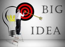 Big idea concept drawn by a man on a ladder royalty free illustration