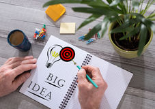 Big idea concept on a notepad Royalty Free Stock Images