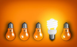 Big Idea. Idea concept with row of light bulbs Royalty Free Stock Images