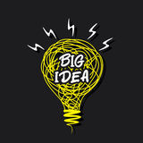 Big idea concept or word on sketch bulb design Royalty Free Stock Photos