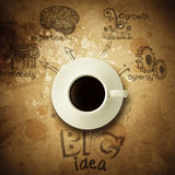 The big idea diagram cup of coffee vintage paper background Stock Photo