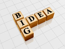 Big idea - golden crossword. 3d golden boxes with black letters with text - big idea, like crossword Royalty Free Stock Image