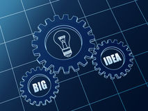 Big idea and light bulb symbol in blue gears Stock Photo