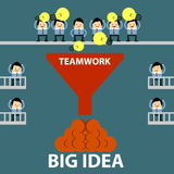 Big Idea. Teamwork thinking for big idea and people cheerful Stock Images