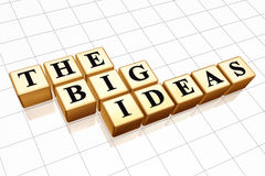 The big ideas. 3d golden boxes with black letters with text - the big ideas Royalty Free Stock Photography