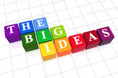 The big ideas in colour. 3d colour boxes with white letters with text - the big ideas Royalty Free Stock Image