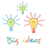Big Ideas creative light bulb concept. This image is an illustration Royalty Free Stock Photography