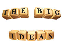 The big ideas isolated. 3d golden boxes with black letters with text - the big ideas, isolated Royalty Free Stock Images